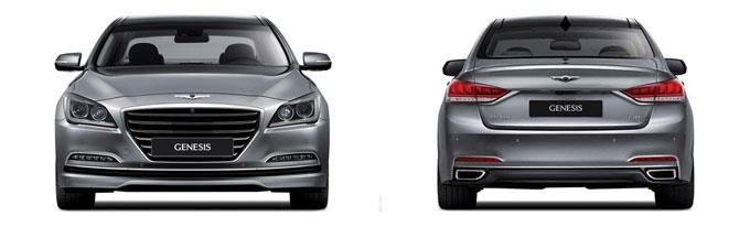 Новый Hyundai Genesis 2014 - вид спереди и сзади